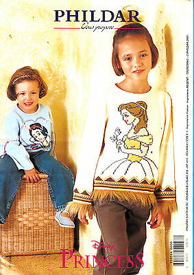 FICHE TRICOT PHILDAR CREATIONS PULL FILLE  PRINCESSE DISNEY  TAILLES :4  a 12ans