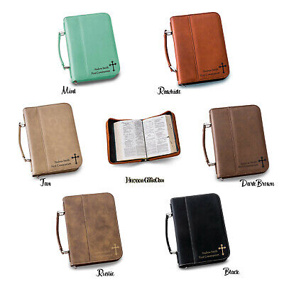 Personalized Bible Book Cover Large Faux Leather Zipper Church Gift 1 Carry Case
