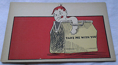 Take Me with You Postcard Child in Medicine Bag Humor VTG