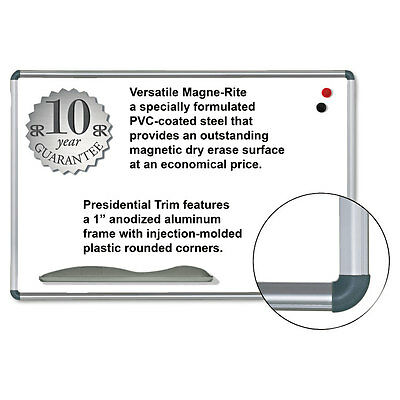 Best-Rite Magne-Rite Magnetic Dry Erase Board, 36 x 24, White, Silver Frame, EA