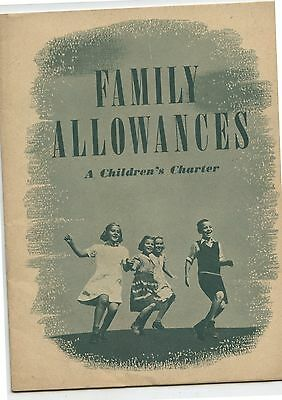 Old 1940's Booklet Canada Family Allowances A Children's Charter