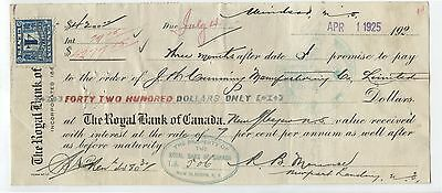 Old 1924 Royal Bank Cancelled Check Excise Tax Stamps 1 Dollar etc