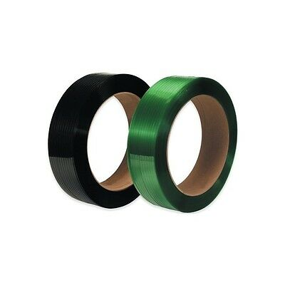 """Polyester Strapping, Smooth, 16""""x3"""" Core, 5/8""""x2200', Green, 2 /Case"""