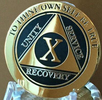 10 Year AA Medallion Black Gold Plated Bi-Plate Alcoholics Anonymous Chip Coin