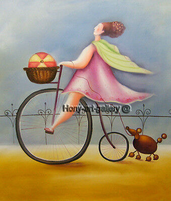 Canvas Handmade Modern abstract Oil Painting art deco Cycling girl 20x24in H2065