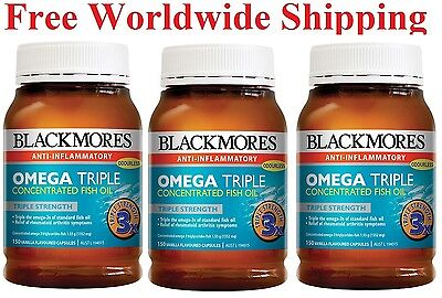 3 x Blackmores Omega Triple Concentration Fish Oil 150 Caps Free Post Worldwide