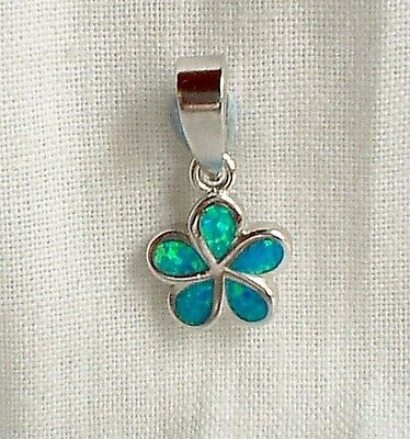 Tiny 925 Sterling Silver Blue-Green Fire Opal Flower Pendant SP Chain~Reiki~Love