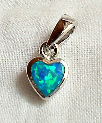 Tiny Blue-Green Fire Opal Solid 925 Silver Heart Pendant~Reiki~Crystal Jewellery