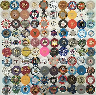 100 Casino Chips -- Most From Las Vegas
