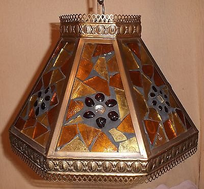 Vintage Stained Glass/Acrylic Hanging Swag Ceiling Light Retro Mid-Century