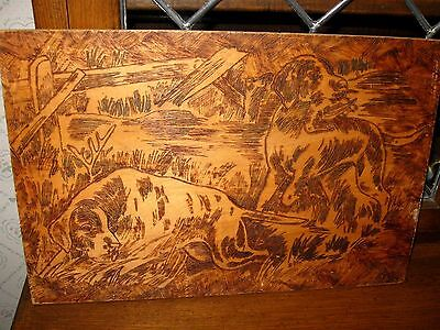 Antique/Vintage Hunting Hound Bird Dogs Pyrography Wood Wall Plaque Picture