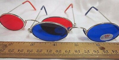 2 Pair Vintage Oval Frame Glasses Tinted Lens NOS Red Blue Sunglasses Steampunk