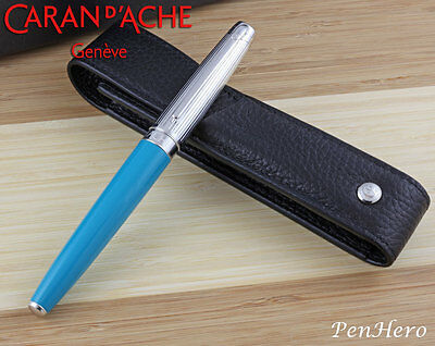 Caran d'Ache Leman Bicolor Turquoise Fountain Pen Medium 4799.171 with Free Case
