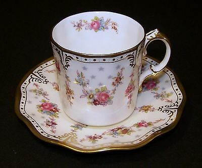 """Royal Crown Derby """"ROYAL ANTOINETTE"""" Coffee Can/Stand ( Demitasse Cup & Saucer)"""
