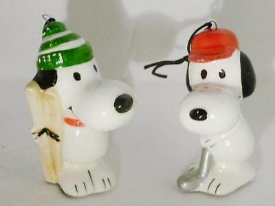 Snoopy 2 Ornaments Skier Golfer vintage Japan Peanuts United Feature Syndicate