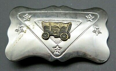 Covered Wagon Western CHAMBERS Small 1970's Vintage Belt Buckle