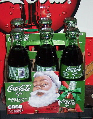 2016 Coca - Cola Life Holiday Carrier  8Oz  Glass Coca Cola Bottles 6 Pack