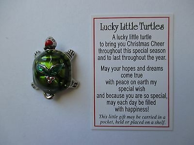 s LUCKY LITTLE TURTLE Token pocket Charm good luck Christmas Holly pendant ganz