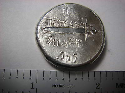 Sword - Beaver Bullion hand poured Canadian 1 troy ounce 999 fine silver button
