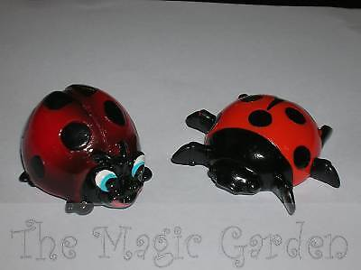 2 cute ladybugs insects cement plaster garden ornament craft latex moulds molds