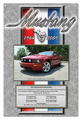 "MUSTANG '64 to '09 ""The Mustang Evolution"" TIN SIGN  20 X 30 cm MUSTANG TIN SIGN"