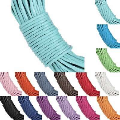 15 Colour 20m Waxed Cotton Cord Thong String Necklaces Jewellery Making 1mm
