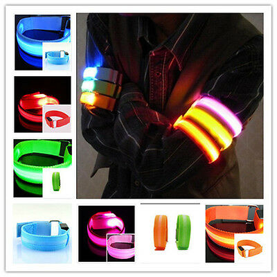 Cool Popular Running Arm Band LED Flashing Safety Night Reflective Belt Strap