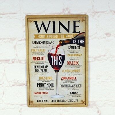 WINE FROM AROUND THE WORLD Retro metal Tin sign Tavern Pub Bar wall decor Plate