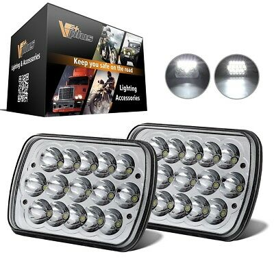 """Clear Lens LED Cree HID 7X6"""" Headlight Sealed Beam High/Low Replacements 2pcs"""