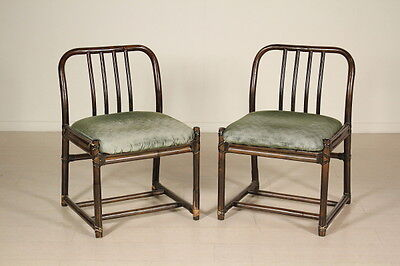 Two Chairs Bamboo Foam Fabric Vintage Manufactured in Italy 1970s-1980s