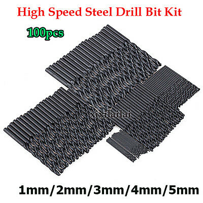 100x 1/2/3/4/5mm Forage Haute Vitesse HSS Twist Forets en Acier Drill Bits Kit