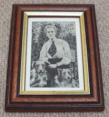 Antique Vintage WW1 Edith Cavell & Her Dogs Silk Panel in Modern Frame