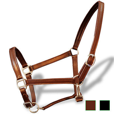 Real Leather Headcollar Stable Halter Soft Padded Brown/Black Pony/Cob/Full