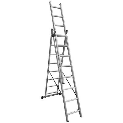 Charles Bentley 3 Section 3 Way Combination Ladder - 3X8 Rung Aluminium