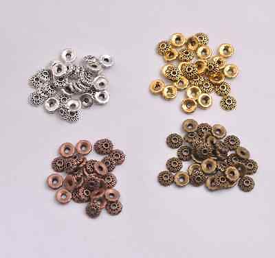 100Pcs Tibetan Silver/Gold/Bronze Flower Spacer Bead Caps Jewelry Findings S3081