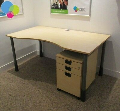 Maple 1600mm Double Wave Office Computer Desk Table With Pedestal