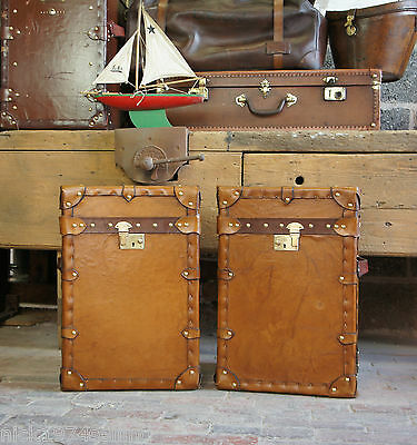 Vintage Inspired English Tan leather Campaign chests Trunks