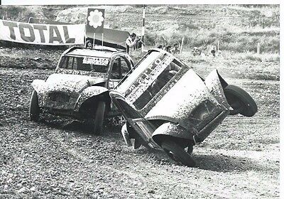 Citroen 2CV Rallycross Italian Press Photograph Excellent 1977 Car Flipping Over