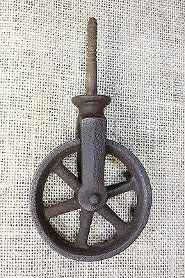 "screw Pulley 3"" spoke wheel vintage rustic texture cast iron old antique barn"