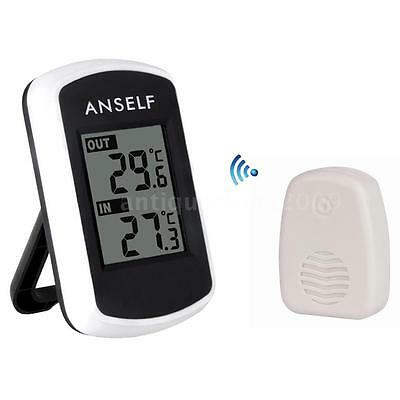 Digital LCD Wireless Weather Station In/Outdoor Thermometer Ambient Tester L1R9