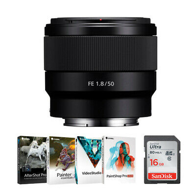 Sony FE 50mm F1.8 Lens, Software, & Memory Card Bundle