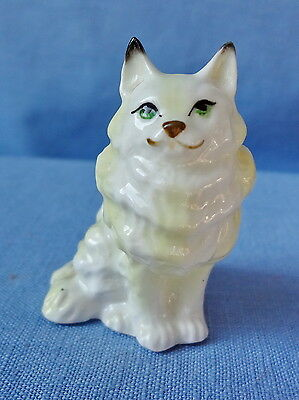 WHITE LONG HAIR CAT MINIATURE Bone China  From Estate Collection