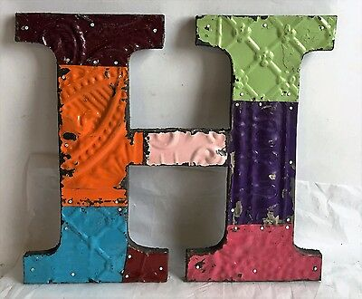 "Antique Tin Ceiling Wrapped 12"" Letter 'H' Patchwork Metal Chic Multi Color F5"