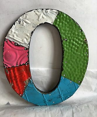 "Antique Tin Ceiling Wrapped 12"" Letter ""O"" Patchwork Metal Mosaic Multi Color F6"