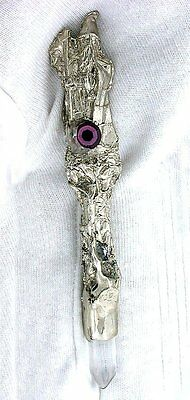"4 1/10"" Wizard Pewter Quartz Crystal Magic Wand Wicca Withcraft Ritual New Age"