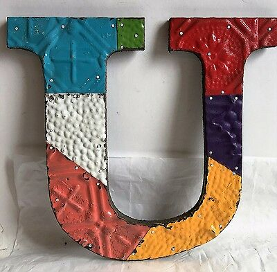 "Antique Tin Ceiling Wrapped 12"" Letter ""U"" Patchwork Metal Multi Color"