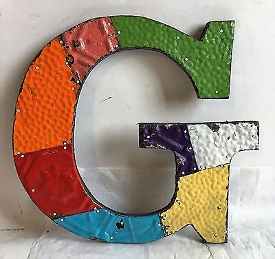 "Shabby Reclaimed Tin Ceiling Wrapped 12"" Letter 'G' Patchwork Multi Color F17"