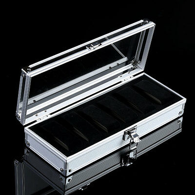 6 Grids Slots Aluminium Lid Watch Jewelry Display Storage Case Box Collection UK
