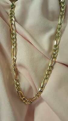 14k solid yellow gold italian figaro chain necklace 22""