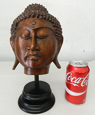 Hand Carved Wood Buddha Sukhothai Thai Style Head Statue Figure Decoration #8